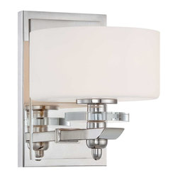 Savoy House - Oneida 1-Light Sconce - Architectural appeal abounds with the Oneida bath collection from savoy house. Crisp white glass is accented by K9 crystal discs and a lustrous polished nickel finish.