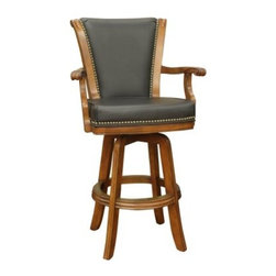 AHB Napoli 30 in. Swivel Bar Stool with Arms - The Napoli 30 in. Swivel Bar Stool with Arms enhances your kitchen island, counter, or home bar with comfortable, elegant seating. A striking addition to any space, this bar stool features contoured armrests and full-ring footrest for support and stability. The seat of the stool has a swivel mechanism to allow rotation of 360 degrees, which requires less movement on floors. For additional comfort, this bar stool has a 3-inch thick, black leather seat with nailhead trim for a classic look. Crafted from solid wood, it's available in your choice of finish. Please note: This item is not intended for commercial use. Warranty applies to residential use only.