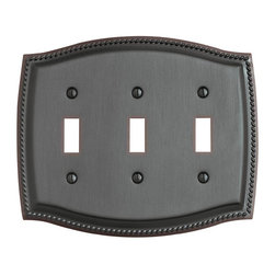 Baldwin Hardware - Rope 3 Toggle Wall Plate in Venetian Bronze (4793.112.CD) - Feel the difference as Baldwin hardware is solid throughout, with a 60 year legacy of superior style and quality. Baldwin is the choice for an elegant and secure presence. Baldwin guarantees the beauty of our finishes and the performance of our craftsmanship for as long as you own your home.