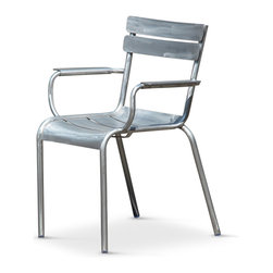 Kathy Kuo Home - Sheffield Industrial Loft Aluminum Outdoor Safe Dining Arm Chair - Pair - The rustic charm of slatted wood gets an upgrade to indoor/outdoor brushed aluminum in this pair of Industrial arm chairs. Combining comfort and style, these chairs add a shimmering silver touch to an outdoor or indoor table. They are also the perfect pair for a bistro table or breakfast nook.