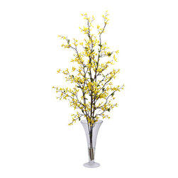 Nearly Natural - Forsythia w/Vase Silk Flower Arrangement - Tiny, delicate flowers dance ever skyward in this botanical masterpiece.  Could there possibly be any better first sign of spring?  That's a question that you won't have to answer with this silk arrangement, as it will be springtime year round! With its uniquely shaped vase and water look, this is one silk arrangement that's not to be missed.