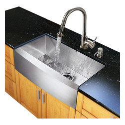 Vigo Industries - 30 in. Single Kitchen Sink and Faucet Set - Includes soap dispenser, matching bottom grid, sink strainer, all mounting hardware for faucet and hot-cold waterlines