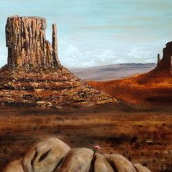 Desert Flower Power (Original) by Howard Hackney - Painting of small flower struggling successfully to bloom in the harsh desert environment