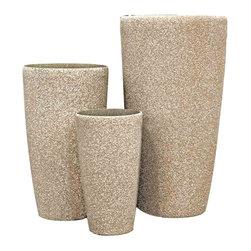 kasamoderndesign - Modern Sand Set of 3 Planter Pots to use Outdoor or Indoor - Modern Sand Set of 3 Planter Pots to use Outdoor or Indoor Home Decoration Patio Garden Lawn