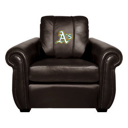Dreamseat Inc. - Oakland Athletics MLB Alt Logo Chesapeake Black Leather Arm Chair - Check out this Awesome Arm Chair. It's the ultimate in traditional styled home leather furniture, and it's one of the coolest things we've ever seen. This is unbelievably comfortable - once you're in it, you won't want to get up. Features a zip-in-zip-out logo panel embroidered with 70,000 stitches. Converts from a solid color to custom-logo furniture in seconds - perfect for a shared or multi-purpose room. Root for several teams? Simply swap the panels out when the seasons change. This is a true statement piece that is perfect for your Man Cave, Game Room, basement or garage.