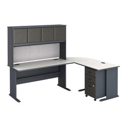 Bush - Bush Series A 4-Piece L-Shape Computer Desk in Slate - Bush - Computer Desks - WC8460APKG3