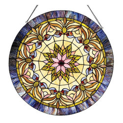 None - Tiffany-style Victorian Window Panel - Add a splash of color to any space with this beautiful glass window panel. This Tiffany-style window panel contains a colorful array of hand-cut stained glass pieces,individually wrapped in fine copper foil,giving it that classic Victorian design.