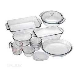 Anchor Hocking - 15 Pc. Bake Set - 15-piece Bake Set includes 2 qt. Bake Dish, 1.5 qt. Casserole/Glass Cover, 1.5 qt. Loaf, 1.0 qt. MixingBowl, 9 in. Pie, 8 oz. Measuring Cup, 4 x 6 oz. Custard Cups with Plastic Lids.