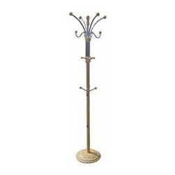 ORE International - 73 in. Coat Rack w 12 Metal Hooks - 12 Hooks. Carved wood base . Holds hats, coats and umbrellas. Made from Chrome and wood. Assembly required. 19 in. L x 19 in. W x 73 in. H (23 lbs.)Elegant, yet casual design elements. Unique fine moldings and classic turnings. Ornate and elegant with an old world charm, this standing coat rack will be a stylish and functional addition to a foyer or entry.