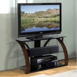 """Bello - 44"""" TV Stand - This contemporary design features a curved, hand painted Dark Cherry finish front and a V-shaped black powder-coated, scratch resistant rear steel frame with gray tinted tempered safety glass. Features: -Open architecture provides superior ventilation.-CMS cable management System to hide and organize unsightly wires and interconnect cables.-Tempered safety glass shelves.-Accomodates up to 4 audio/video components.-Accommodates Flat Panel TVs up to 44'' or 125 lbs.-Dark Cherry finish.-About Bell'O: When it comes to home theater furniture, Bell'O provides a distinct flair of Italian contemporary design. Bell'O offers a full line of audio/video furniture, audio furniture, home theater furniture, and entertainment centers, including plasma TV stands, DLP stands, LCD, projection TV stands, speaker stands, and TV stands. Home theater furniture ensembles accommodate plasma, DLP, projection and standard TV monitors as well as additional audio/video components. Since 2001, Bell'O has been making headlines with its award winning designs. Every year, ELECTRONIC HOUSE magazine selects products for its highly regarded Product Of The Year Award. And for five years straight, Bell'O International has topped the list with the innovative styling of its Audio/Video Systems. Bell'O even has designs that hold the prestigious Innovations In Design and Engineering Showcase Award presented every year at the prominent Consumer Electronics Show in Las Vegas, Nevada. Once again, we have continued this tradition of excellence into 2005 with such unique designs as the AVS-2752HG, the recipient of this year's award. The AVS-2752HG features uniquely elegant styling with a beautiful high gloss black finish to match the latest and greatest LCD and DLP televisions on the market today. Bell'O is proud of its history of recognition, and is proud to be the leader of innovative and stylish home theatre furniture..-Distressed: No.Dimensions: -Overall Product Weight: 70 lbs.."""