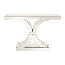 Howard Elliott Capella Mirrored Console Table - This stunning mirrored console table features a unique base. This table is not only functional but will be conversational piece in any setting.