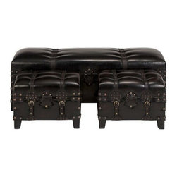 "Benzara - Set of 3 Antiqued Leather Straps Bench Ottoman Footstools - Set of 3 antiqued leather straps bench ottoman footstools. Sleek designer high quality leatherette foot stools and bench. Dimensions: Bench: 18 inches height x 48 inches wide x 18 inches deep. Stool: 18""W x 12""D X 14""H."
