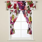 Anthology - Anthology Avery Bathroom Window Curtain Pair - Add instant floral cheer to your bathroom with the Anthology Avery window curtain pair. The pattern is an oversize floral in vivid purple, red, pink, yellow and green on a white background.