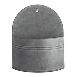 """IRON WALL BIN - Looking to add a rustic element to a home office or kitchen """"office"""" area? This galvanized, distressed bin is perfect for keeping chaotic, unsightly mail out of sight (but not out of mind, so you'll always be up to date on bills). It's crafted from sturdy iron and could be hung outside under a covered space."""