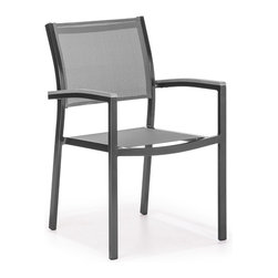 ZUO VIVA - Muni Dining Chair Gray - The Muni Bench has a sturdy epoxy coated aluminum frame and a slatted faux wood seat.