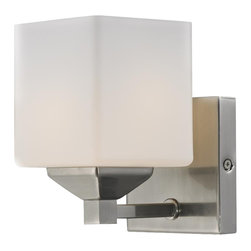 One Light Brushed Nickel Matte Opal Glass Bathroom Sconce - Rectangular shaped hardware and a complimenting cube shade create a straight contemporary look. This wall sconce is finished in brushed nickel, and includes a matte opal shade. This fixture will add a touch of contemporary to any decor.