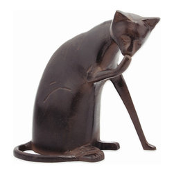 Achla - Coy Cat Garden Statue - Graceful cat statue featuring a blend of materials makes a fascinating garden accessory.  Lightweight aluminum is finished in rustic bronze for a stunning effect.  Modern styling and antique finish fuse in an attractive, fluid design.  Seemingly pondering its next move, cat statue makes a charming accessory.  Smooth dark bronze finish makes it a distinctive indoor accent piece too. * Finish: Dark Bronze. Construction: Aluminum. 8 in. W x 8.5 in. H