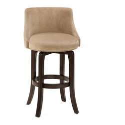 Hillsdale Furniture - Hillsdale Napa Valley Swivel 30 Inch Barstool in Khaki - Hillsdale Furniture's Napa Valley swivel stools are the essence of transitional design with sturdy tapered legs and fully-upholstered barrel style back. Constructed of solid wood with veneer and finished in a rich dark brown cherry, the Napa Valley is available in your choice of 4 fabrics. These handsome stools coordinate with most decors, are available in either bar or counter heights and swivel 360 degrees. A perfect addition to your bar, den or kitchen area.