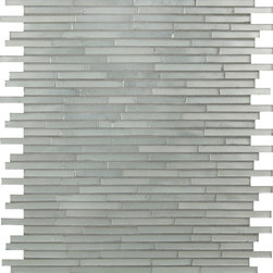 "Artistic Tile Glass- Big Band Silver Ragtime Lines Satin Mosaic - Silver-mirrored hand-cut linear pick up sticks mosaic in a satin finish, mesh mounted for ease of installation on 11"" X 12"" X 1/8"" (0.92 sf) interlocking sheets."
