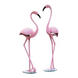 "SPI - Pink Flamingo Pair - -Size: 42.5"" H x 46"" H x 17"" W"