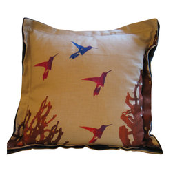 Hummingbird Flight Euro Pillow - Colors and designs taken from nature are right at home on this elegant hand sewn and hand printed pillow. The hummingbird motif adds a fanciful delight to any bedroom, or as a feature in your living room that will be sure to add delightful comfort.