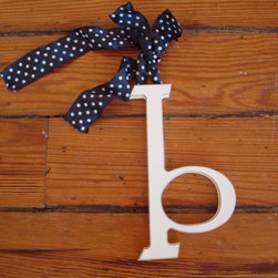 RR - On Sale Wooden Hanging Letters - B - Black White Dot Ribbon - ON SALE Wooden Hanging Letters - B - Black White Dot Ribbon