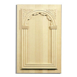 "Inviting Home - Elpida white oak door panels - hand-carved door panel; 13-1/2""W X 21-1/4""H x 7/8""D Wood panels are hand carved from premium selected hardwoods: hard maple cherry and white oak. Panels are carved in deep relief design to achieve the highest degree of quality and details. Carved wood panels are triple sanded ready to accept stain or paint. These wood panels are perfect for wall applications cabinet doors finishing touches on the custom cabinets."