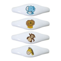 Carolina Hardware and Decor, LLC - Set of 4 Jungle Safari Animal Head Ceramic Pull Handle, Drawer Pulls - New ceramic cabinet, drawer, or furniture pull with mounting hardware included. Pull has standard three inch centers.  Can be wiped clean with a soft damp cloth. Great addition and nice finishing touch to any room!
