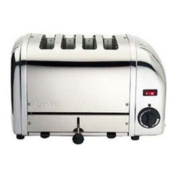 """Dualit - 4 Slice Toaster (Chrome) - This ultra sleek 4 slice toaster gives a modern touch to your kitchen along with efficient toasting capabilities and years of durability. Ejector system does not pop toast up , but keeps it warm inside slots while you finish cooking! Also includes extra wide slots to accommodate various types of breads and a removable crumb tray for easy clean up. Features: -4 Extra wide slots -Ejector system -Output per hour:130 slices -1800 watts -Insulated stainless steel body -Easy-clean crumb tray -Dimensions: 9""""H x 14""""W x 8""""D"""