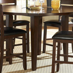 Homelegance - Ameillia Round Counter Height Table - 9 in. drop leaf. Substantial tapered legs. Made from birch veneer. Dark oak finish. Minimum: 42 in. Dia. x 36 in. H. Maximum: 60 in. Dia. x 36 in. HBlending the clean lines of Arts and Crafts with functional movement, the Ameillia Collection is a solid addition to your casual dining space.