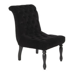 Great Deal Furniture - Juliette Black Tufted Velvet Accent Chair - For a French inspired design, look no further than the Juliette tufted black velvet accent chair. This chair offers ample tufting, a solid frame, and intricately carved wooden legs.