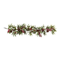 """Nearly Natural - Holly Berry Garland - Stays fresh-looking for years. Red and green color. 11 in. W x 6 in. D x 54 in. HGet your """"Instant Holiday Spirit"""" right here!!! Would you like to add some festive holiday spirit in an instant? Just put up this captivating Holly Berry Garland and you and your guests immediately feel the need to fill out wish lists, wrap gifts, and cook a Turkey! With lush greens, faux pinecones, and colorful berries, this Garland will instantly turn any room into a winter wonderland! Makes a great gift, too!."""