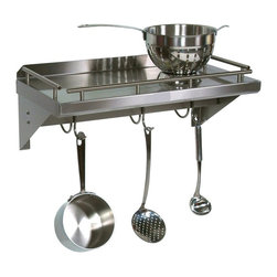 John Boos - Cucina Mensola Grande Wall Shelf w Pot Rack B - Choose Size: 36 in. x 12 in. w 4 hooksFree up your kitchen cabinet space with the addition of this great-looking and practical stainless steel wall shelf with pot rack bar.  Even your largest cooking vessels can be easily stored with ease. Pot and utensils are not included. Food service grade 300 series 18/8 stainless. Galley rail. Polished welded joints. Stainless pot rack bar with adjustable hooks. 24 in. W x 12 in. D (20 lbs.). 36 in. W x 12 in. D (22 lbs.). 48 in. W x 12 in. D (28 lbs.)Free up your kitchen cabinet space with the addition of this great-looking and practical stainless steel wall shelf with pot rack bar.  Even your largest cooking vessels can be easily stored with ease.
