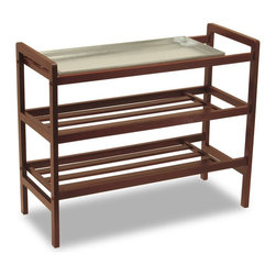 Winsome Wood - Walnut Finished 3 Tier Shoe Rack w Removable - Keep this conveniently designed shoe rack by the front door, and use during rainy weather to keep your floors clean and dry. The removable sink tray catches water from shoes, and can be put away when no longer needed. Three shelves provide ample room for use by the entire family. * Walnut finish. Beech wood. Removable Sink tray. Works well in wet weather. Assembly required. 13.78 in. L x 33.07 in. W x 26.77 in. H. 16 lbs