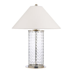 Hudson Valley - Hudson Valley L538-PN-WS 1 Light Large Table Lamp WitShelby Collection - Lively and effervescent, Shelby's modish array of hand-cut concave circles showcases the glamour of mid-century design.  The crystal-clear glass column is capped by a sharply sloped shade, giving an Eastern contrast to the glass body's youthful exuberance