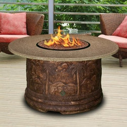 California Outdoor Concepts Palm Round Chat Height Fire Pit Table - Build a backyard oasis with the California Outdoor Concepts Palm Round Chat Height Fire Pit Table. This tropical-themed selection features a base carved from high-quality resin that features intricately detailed mountains and palm trees that will turn your patio into a paradise. While you can get lost in the details of the base and you can feel the top-of-the-line craftsmanship by simply running your hand over the reliefs the superb presentation of this chat-height table does not stop there. You and your guests will also appreciate the round top of polished granite! Pulled from thousand year old mountains this natural stone material is as long-lasting as it gets and best of all it's made to order so you can achieve the perfect color you desire. At the heart of the round table is a fire bowl connected to a stainless steel 40 000 BTU burner fueled by a 20 lb. liquid propane tank (sold separately) hiding within the confines of the artful base. For a finishing touch customize your table with either realistic gas logs and lava rocks that cover the burner or your choice of colorful fire glass. Runs on propane and/or natural gas conversion kit for natural gas is included. About California Outdoor ConceptsCalifornia Outdoor Concepts builds their fire pits and accessories exactly where it would seem - in the sunny climate of idyllic California. By living the lifestyle they sell this small company is able to develop some of the most sophisticated beautiful and practical designs for outdoor socializing. There are no assembly lines at the COC production facility - each piece is handmade and checked for perfection. When you're ready to heat things up in your backyard trust in the true California way.