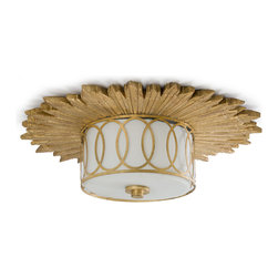Kathy Kuo Home - Stanwyck Hollywood Mirror Glass Flush Ceiling Mount Fixture - If you're a fan of over-the-top in a good way, you will want this sunburst medallion ceiling fixture for your home. Entrance guests by placing it in your entryway or bedazzled by mounting it in your bathroom for a glitzy reminder of Hollywood nights.