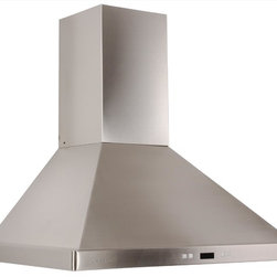 Cavaliere - Cavaliere-Euro SV218B2-I30 Island Mount Steel Range Hood - 218W Island Mounted Range Hood with 6 Speeds, Timer Function, LCD Keypad, Grease Filters, and Halogen Lights