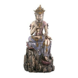 YTC Summit 11H in. Kuan Yin - This bodhisattva is steady like a rock he sits on in the YTC Summit 11 in. Kuan Yin sculpture. Artfully crafted and colored in an attractive mix of bronze, pink, purple, and more, the purveyor of compassion is shown meditating on a detailed rock. Check out the craftsmanship of his crown and the jewels draped around his neck and body. Made of durable resin, the sculpture rests on a convenient flat base, which makes the nearly one-foot-tall item perfect for tabletops or simply the floor.