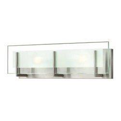 Hinkley - Hinkley 5652BN Latitude 2 Light Bath Wall Sconce in Brushed Nickel 5652BN - Latitude is contemporary and sleek, finding its true beauty in the minimalist design. The thick glass panel features rectangular etching while subtle, yoke-mount holders add understated architectural style.Bulb includedADA Compliant: No Back Plate Height: 4-3 4 Back Plate Width: 17 Bulbs Type: G9 Halogen Certification: c-UL-us Damp Collection: Latitude Energy Star Compliant: No Extension: 4 Finish: Brushed Nickel Glass: Clear Beveled Inside-Etched Height: 5-3 4 Material: Steel Number of Lights: 2 Socket 1 Base: G-9 Socket 1 Max Wattage: 60 Style: Transitional TTO: 3-1 4 Voltage: 120 Wattage: 60 Weight: 7 Width: 18