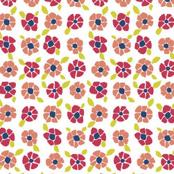 Floral Matisse Wallpaper - I imagine this wallpaper in a crisp, white nursery full of raspberry red and light pink accents. So pretty!