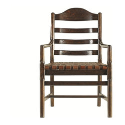 Classic Portfolio Ladderback Armchair - Welcome guests to the head of the table with our Ladderback Arm Chair. Scaled for today, but generous in the seating area, this chair delivers comfort no matter how long the meal lasts. The woven belt leather seat naturally conforms to the occupant, and will age gracefully over time.