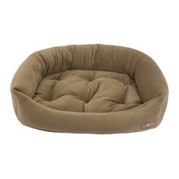 Jax & Bones - Jax & Bones Reptile Velour Napper Bed Brown Sugar X-Large - An original design by Jax and Bones! An oval bolster bed that is perfect for dogs that like to lean, curl, or cuddle. Fabric is made from a high performance micro-denier plush velvet with 2 removable inserts for easy care. Offered in 4 sizes and inevitably the softest and favorite dog bed your pet will ever have!