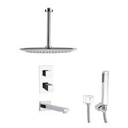Remer - Thermostatic Polished Chrome Square Tub and Shower Faucet with Hand Shower - Thermostatic diverter.