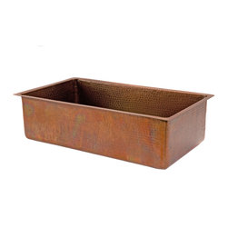 "Premier Copper Products - 33"" Antique Copper Kitchen Single Basin Sink - 33"" Hammered Copper Kitchen Single Basin Sink in Antique Copper Color"