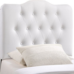 Annabel Twin Vinyl Headboard - Instill soft tones and a meaningful design with the Annabel tufted arch headboard. Deep inset buttons adorn this magnificent centerpiece for your bedroom decor. Annabel is made from fiberboard, plywood and fine vinyl upholstering for a construction that is both lightweight and long-lasting. Carefully crafted with flowing contours and a richly rewarding design, sleep peacefully while supported by this exceptional headboard. Fits twin size beds.