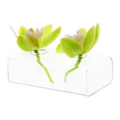 Chive - Hudson2, 2 Flute Vase - With a few single blooms this delicately modern bud vase will jazz up your table. Simple glass provides the perfect complement to the lush stems clipped from your yard.