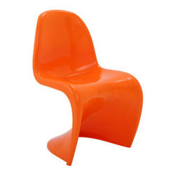 "LexMod - Slither Dining Side Chair in Orange - Slither Dining Side Chair in Orange - Sleek and sturdy, rock back and forth in comfort with this injection molded marvel. Constructed from a single piece of strong ABS plastic, the s shaped Slither chair can be found in many fashionable settings. Perfect for dining areas in need of a little zest, the design is versatile, fun and lively. Surprisingly cushy, choose from a selection of vibrant colors that wont fade over time. Slither is also perfect for spaces short on room. Set Includes: One - Slither Chair Tough ABS Construction, Stackable up to 4 High, Ergonomically Designed Overall Product Dimensions: 23""L x 19""W x 33""H Seat Height: 18""H - Mid Century Modern Furniture."