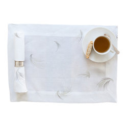 Huddleson Linens - White Linen Placemat with Feather Print, Set of 4 - Soft. Durable. Serene. There's not much missing from these 100% Italian linen placemats that feature a neutral gray and taupe design scheme. A must-have for any dining table, they mix-and-match effortlessly with a variety of tableware.