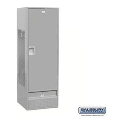 Salsbury Industries - Standard Gear Metal Locker - Solid Door - 6 Feet High - 24 Inches Deep - Gray - - Standard Gear Metal Locker - Solid Door - 6 Feet High - 24 Inches Deep - Gray - Assembled